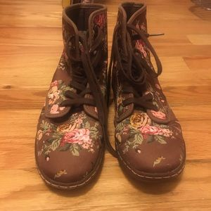 Dr. Martens Airwair boots with floral design